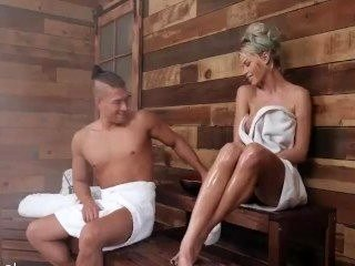 Busty Blonde Sauna Girl Gets Her Anal Railed & Jizzed On