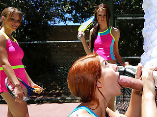 Summer camp sluts sharing one mighty huge cock after tennis