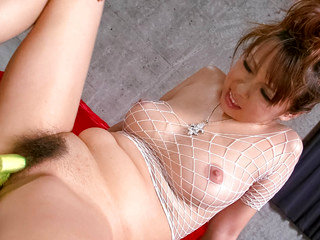 Asuka in white fishnet body suit has her round tits squeezed before jizzed on