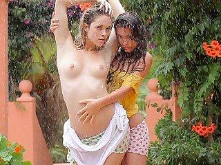 Sweet chicks getting wet